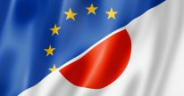 Mixed Europe and Japan flag, three dimensional render, illustration